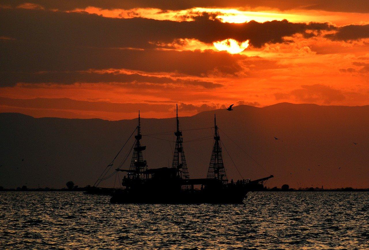 sunset, ship, silhouette